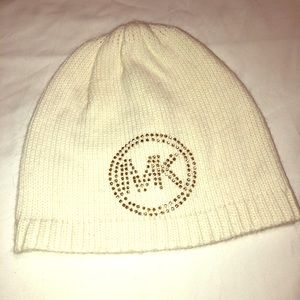Michael Kors Knit Hat with Silver/Gold MK Logo